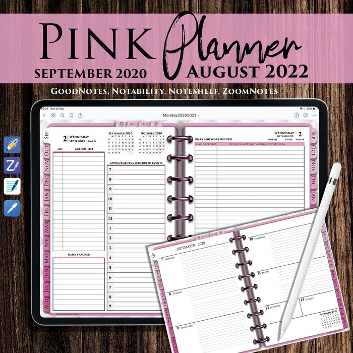 Pink Digital Daily Planner  for GoodNotes 2021 ipadplanner.com