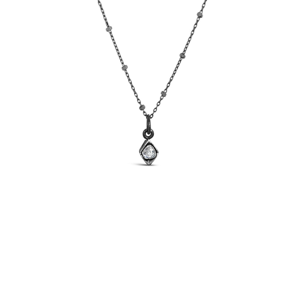 PICS1717-BLACK RHODIUM .20CT ROSE CUT DIAMOND PENDANT