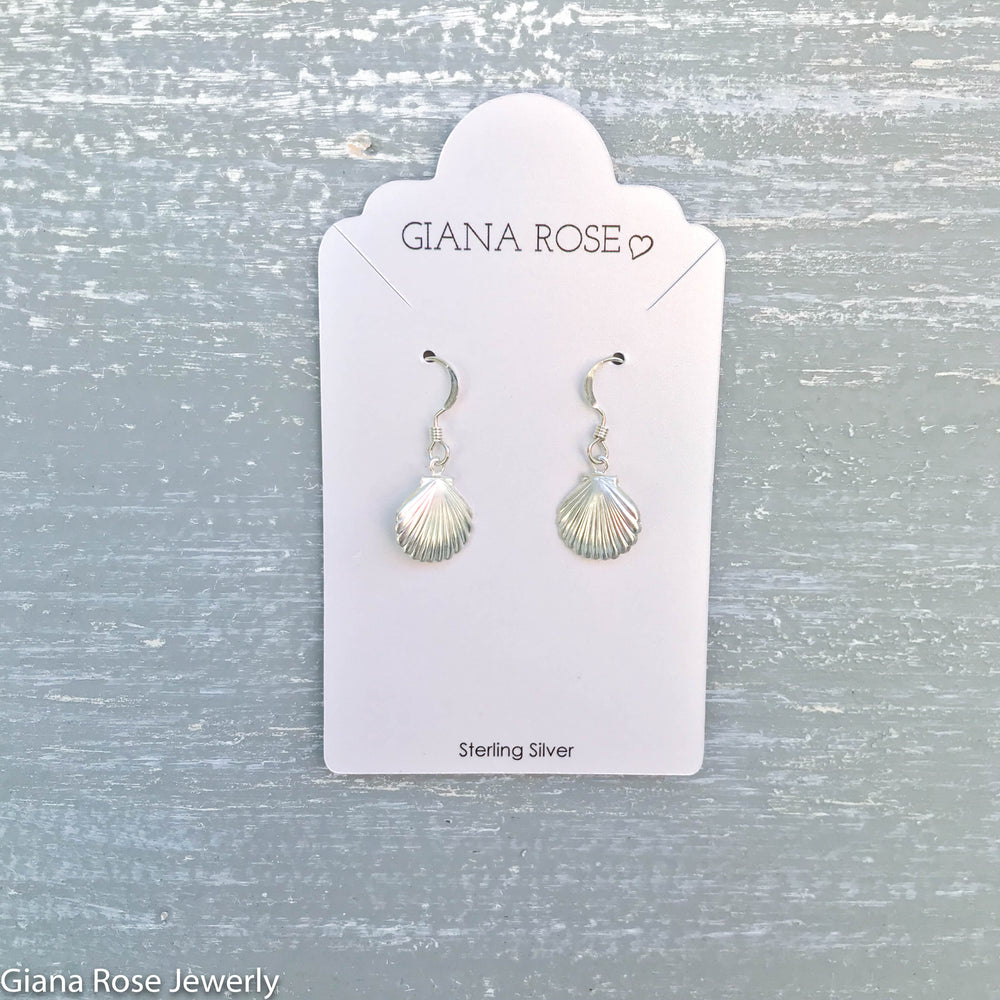 GR26-STERLING SILVER SHELL DROP EARRINGS