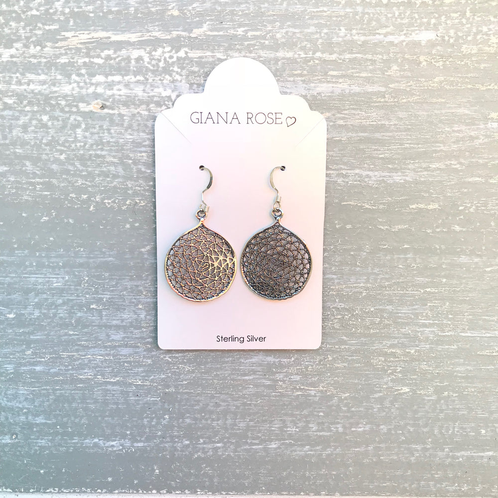 GR65-STERLING SILVER ROUND DESIGN DROP EARRINGS