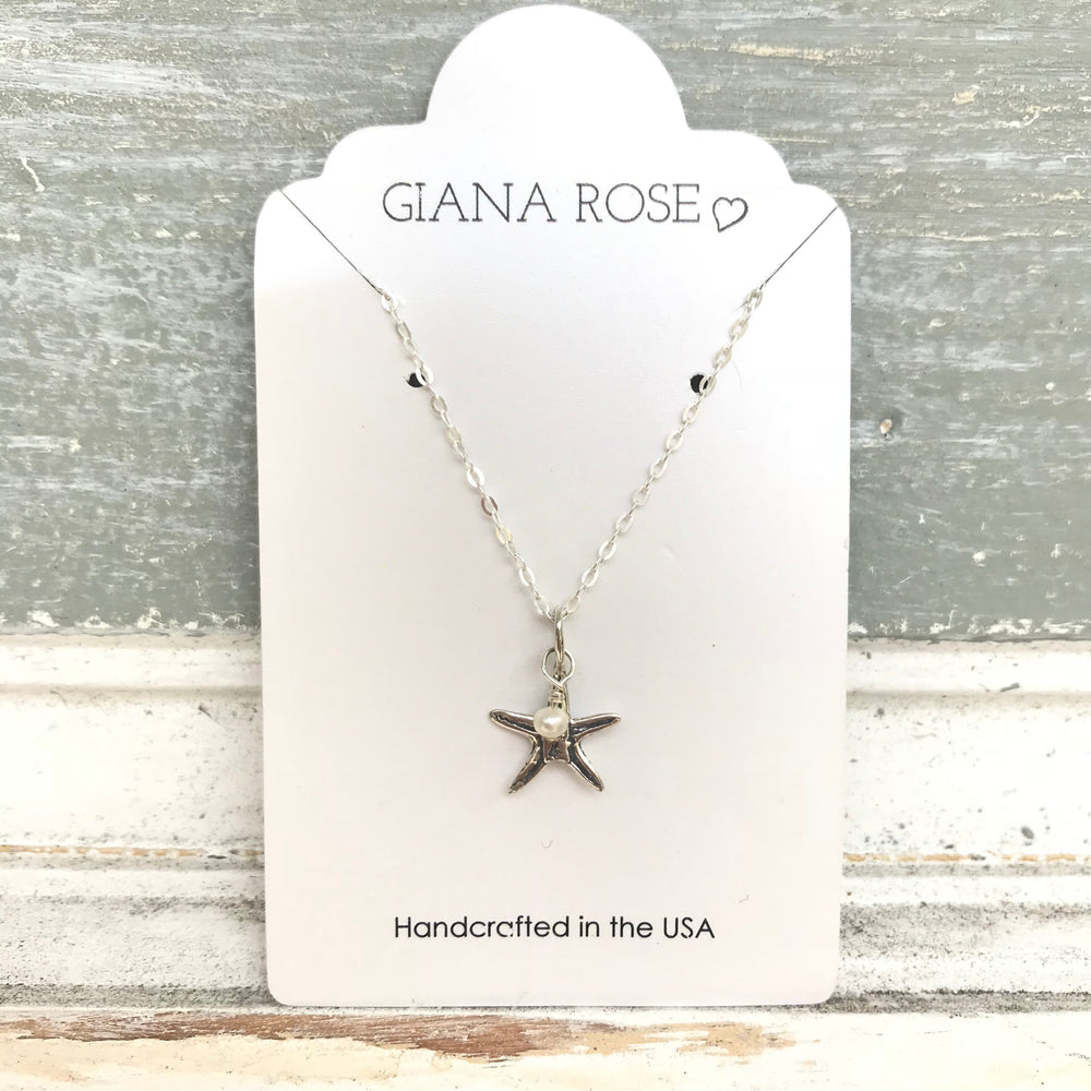 GR58-STERLING SILVER SMALL STARFISH FRESHWATER PEARL 16IN CHAIN NECKLACE