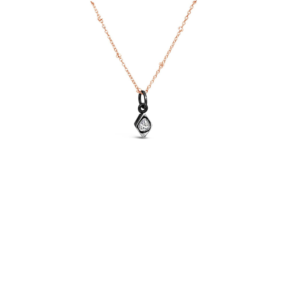 BLACK RHODIUM .20CT ROSE CUT DIAMOND PENDANT