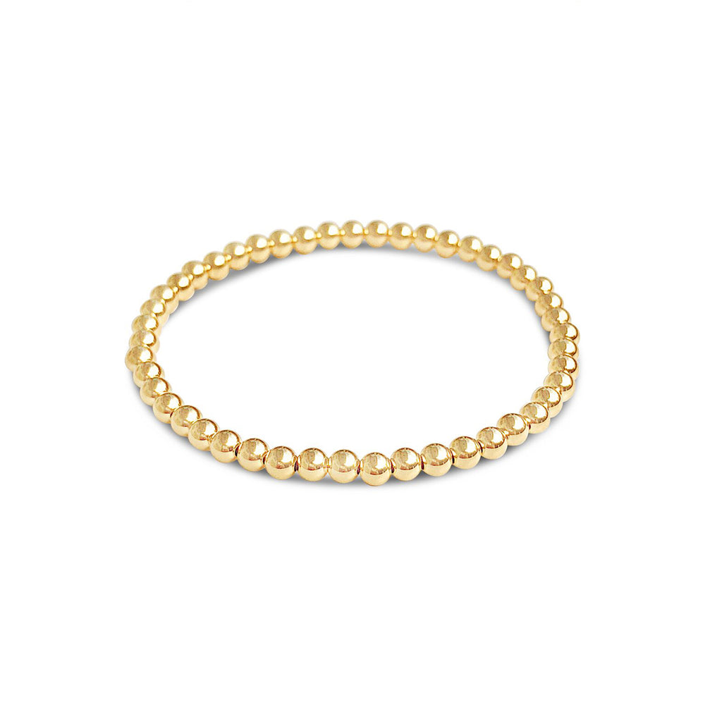 GR102-14 KT GOLD FILL 4MM BEADED BRACELET