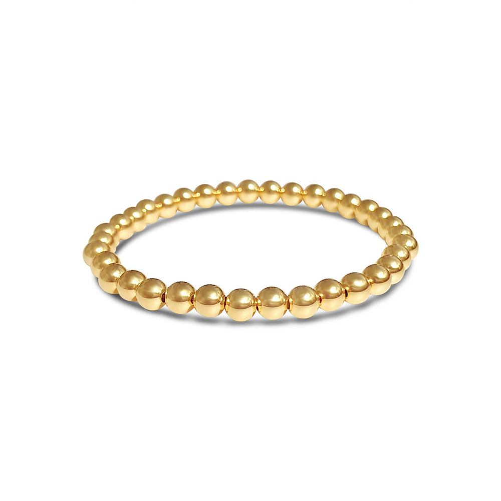 GR103-14KT GOLD FILL 5MM BEADED BRACELET