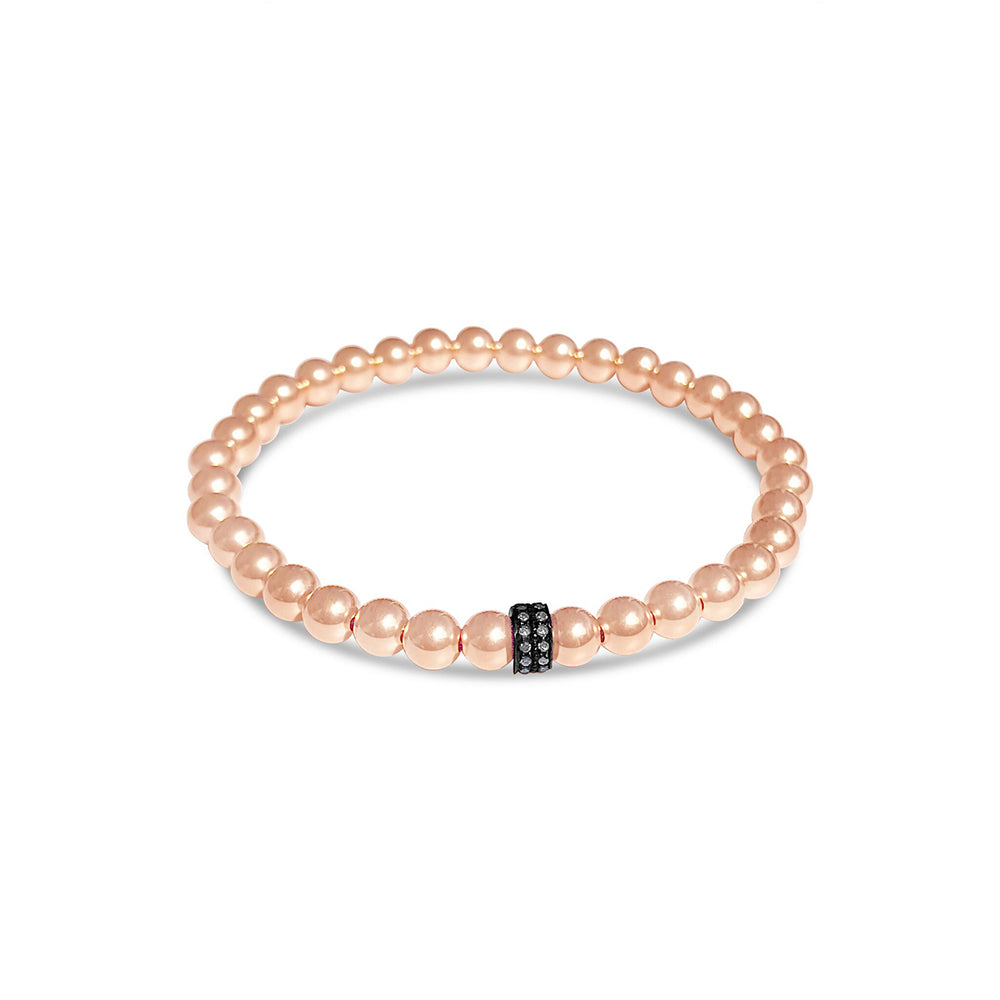 GR104- 5MM 14KT GOLD FILL BEADED BRACELET WITH PAVE DIAMOND ACCENT