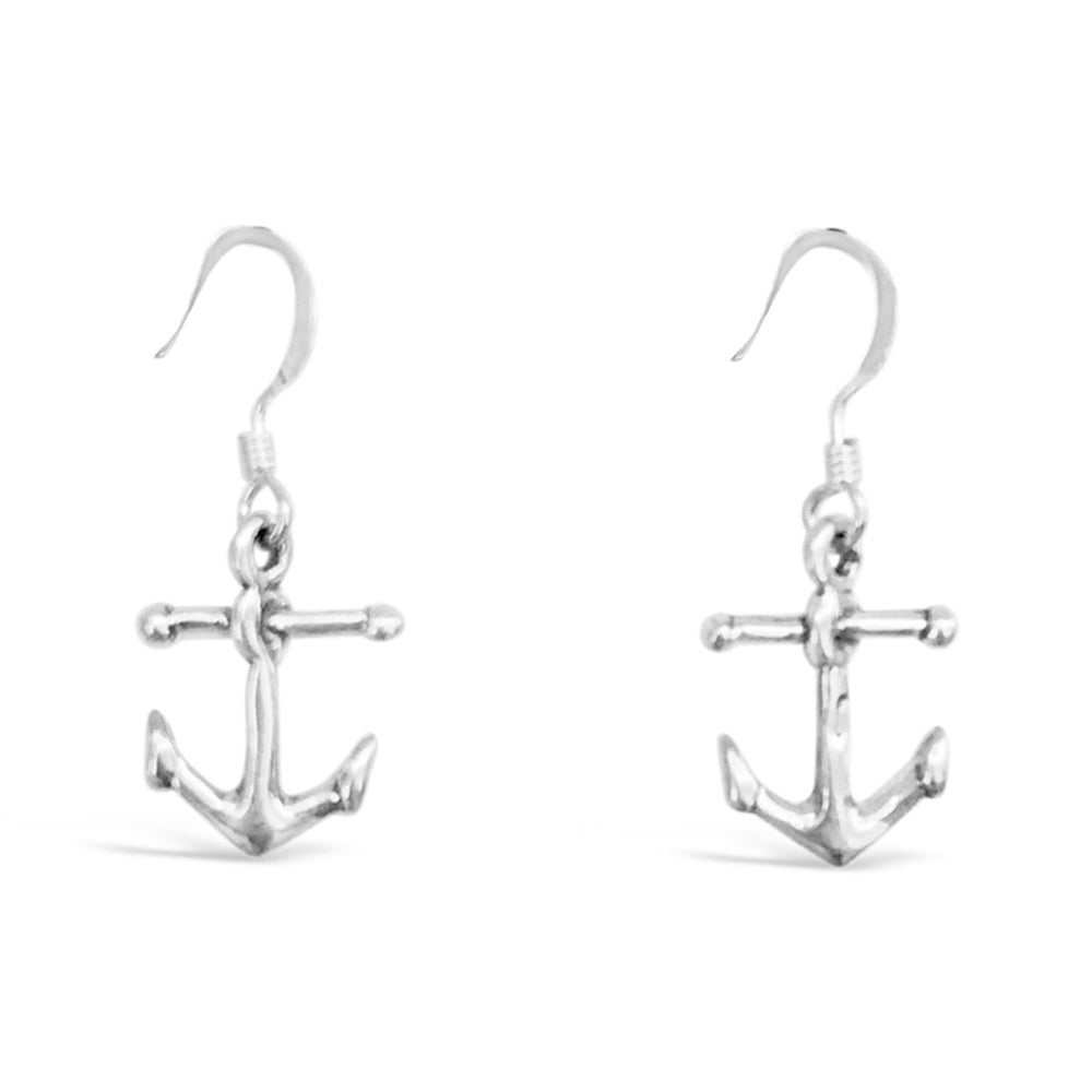 GR59-STERLING SILVER ANCHOR DROP EARRINGS