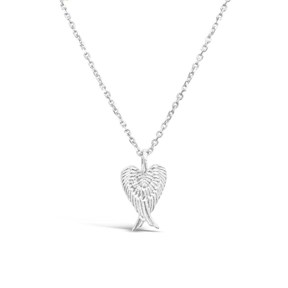 GR99-STERLING SILVER 14KT GOLD PLATED ANGEL WING HEART NECKLACE ON 18 INCH CHAIN