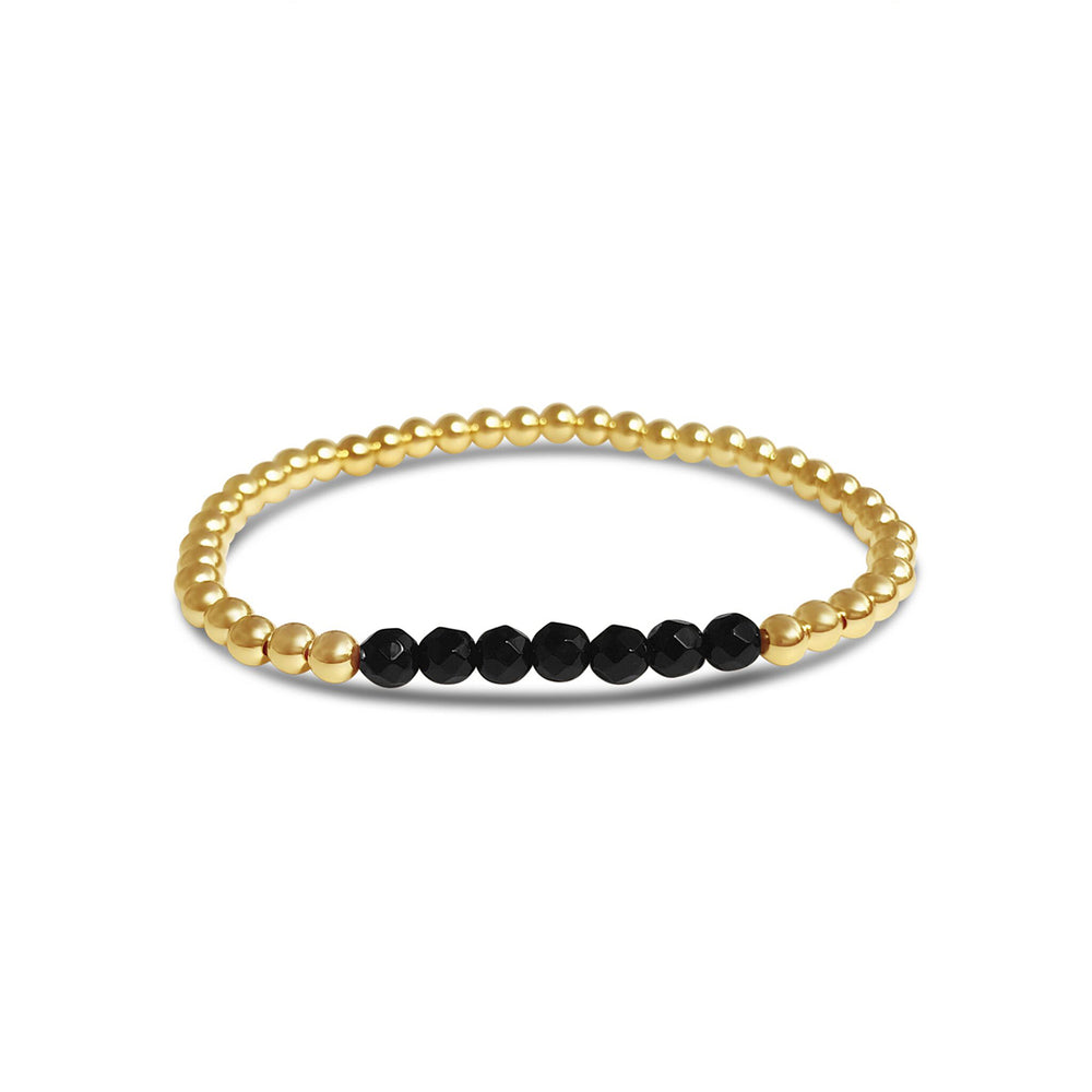 GR105-4MM 14KT GOLD FILL BEADED BRACELET WITH FACETED BLACK ONYX