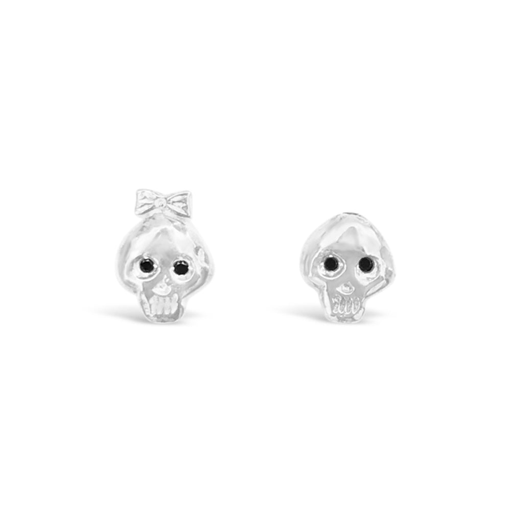 WD112S-STERLING SILVER BONEHEAD BOY AND GIRL EARRING WITH BLACK DIAMOND EYES EARRINGS