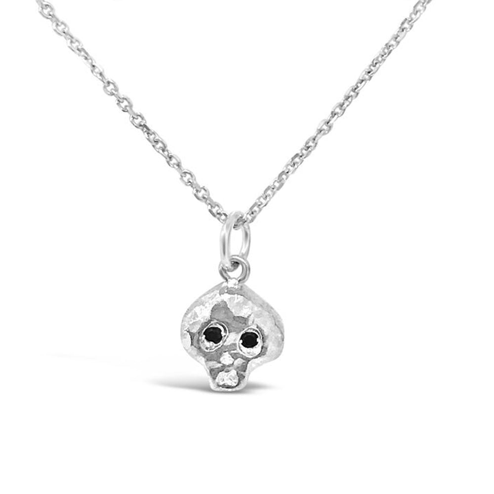 WD113SB-STERLING SILVER  BONEHEAD BOY BLACK DIAMOND EYES 16 IN CHAIN NECKLACE