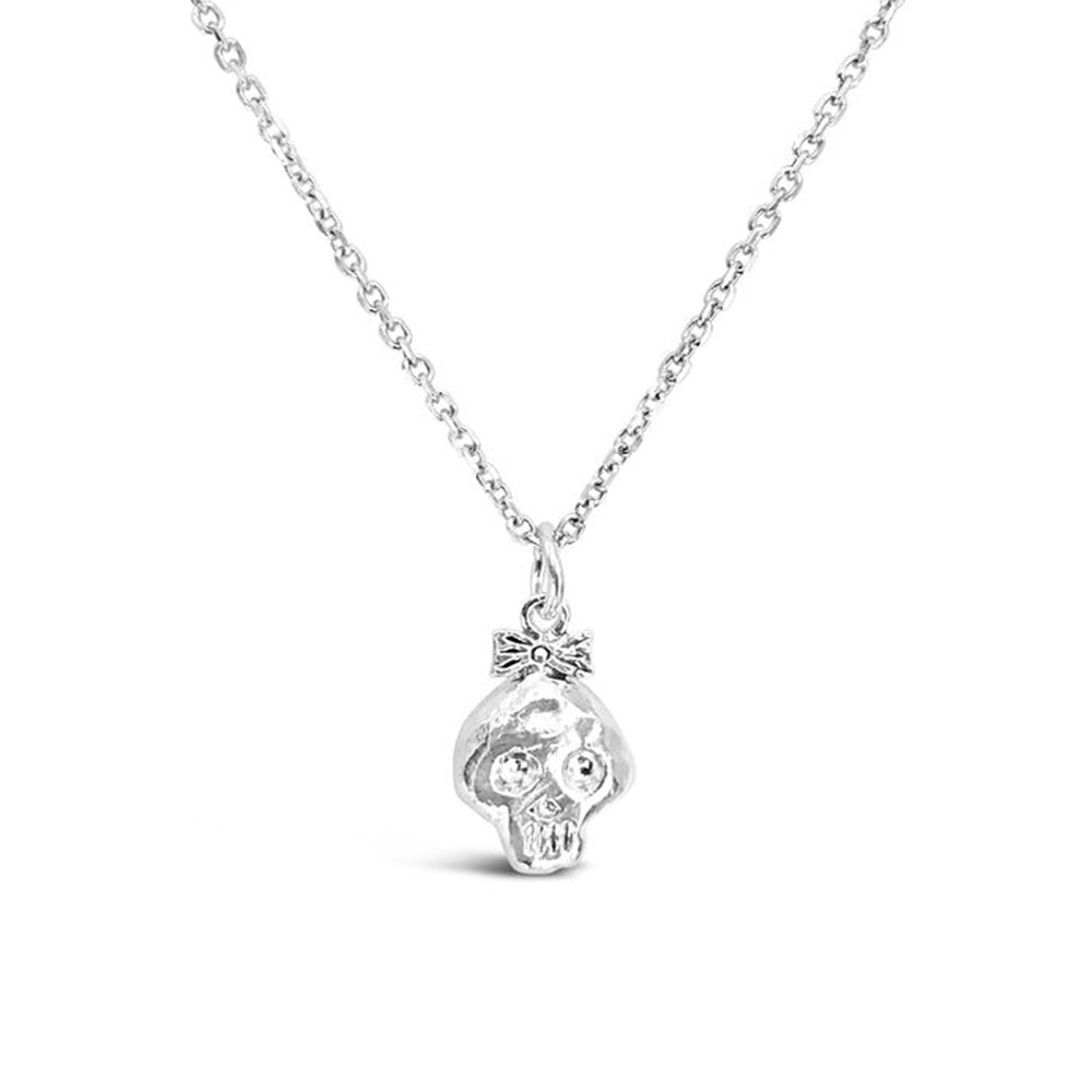 GR91-STERLING SILVER 14KT GOLD PLATED BONEHEAD GIRL NECKLACE ON 16 INCH CHAIN
