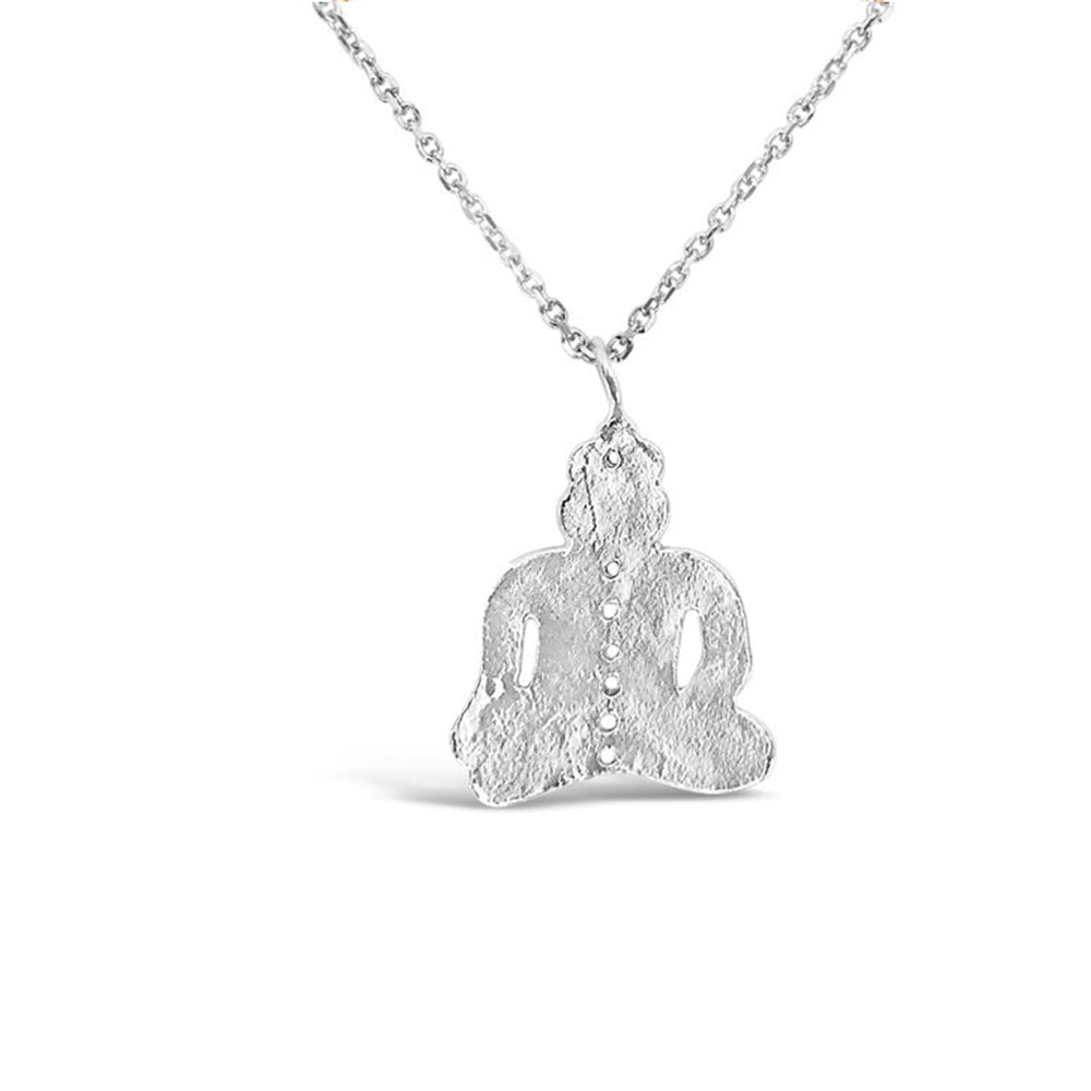 GR93-STERLING SILVER 14KT GOLD PLATED BUDDAH NECKLACE ON 18 INCH CHAIN