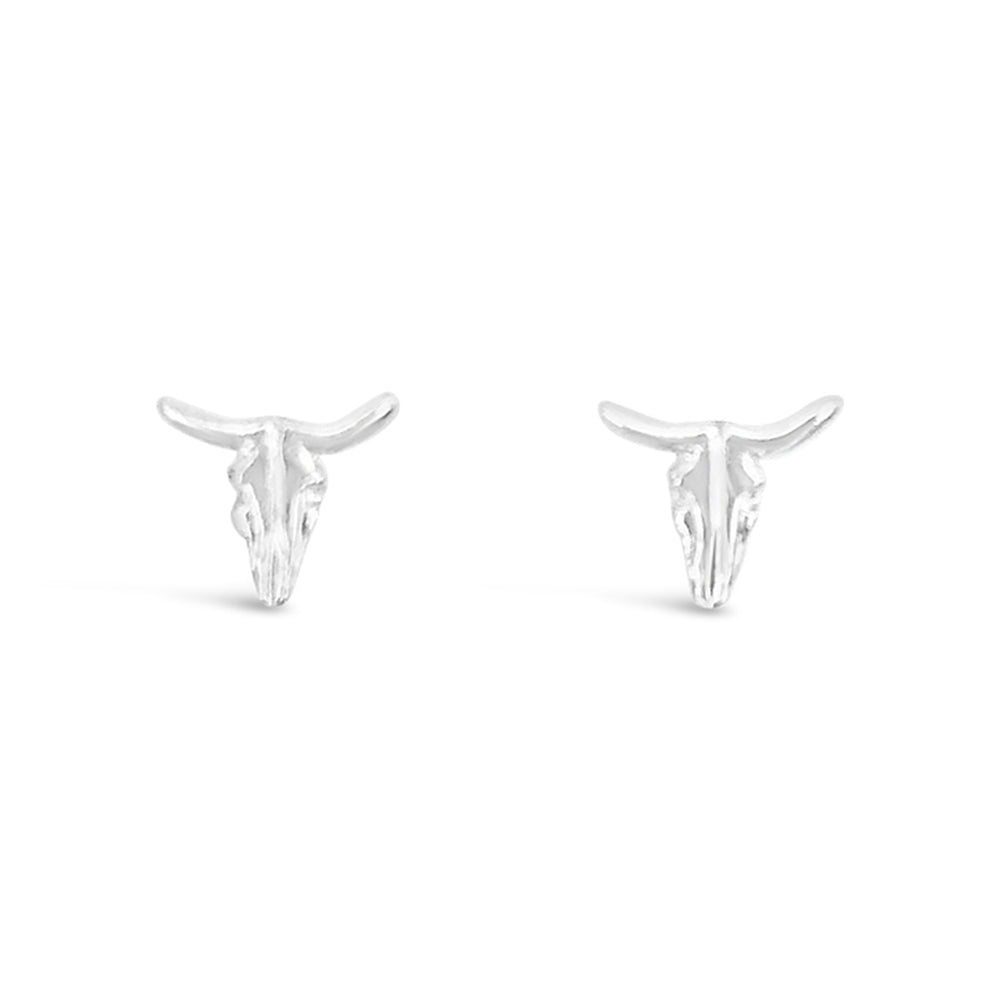 WD98-STERLING SILVER 14KT GOLD PLATED BULL STUD EARRINGS