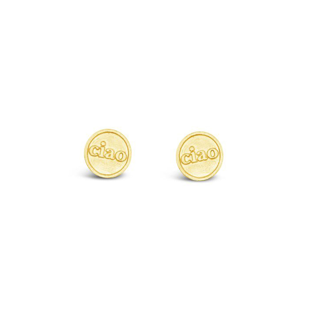 WD154-STERLING SILVER 14KT GOLD PLATED CIAO STUD EARRINGS