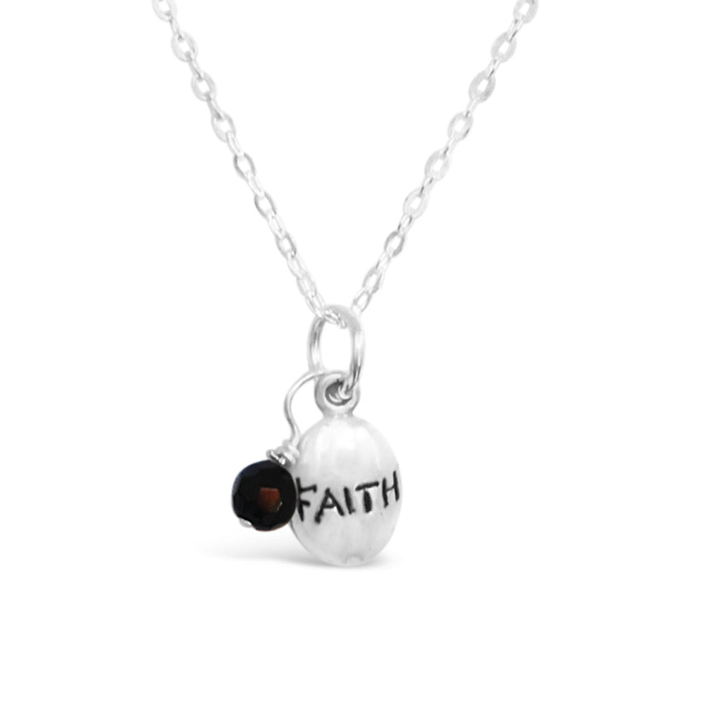 GR13-STERLING SILVER 'FAITH' CHARM WITH BLACK ONYX ON A 16 INCH CHAIN NECKLACE