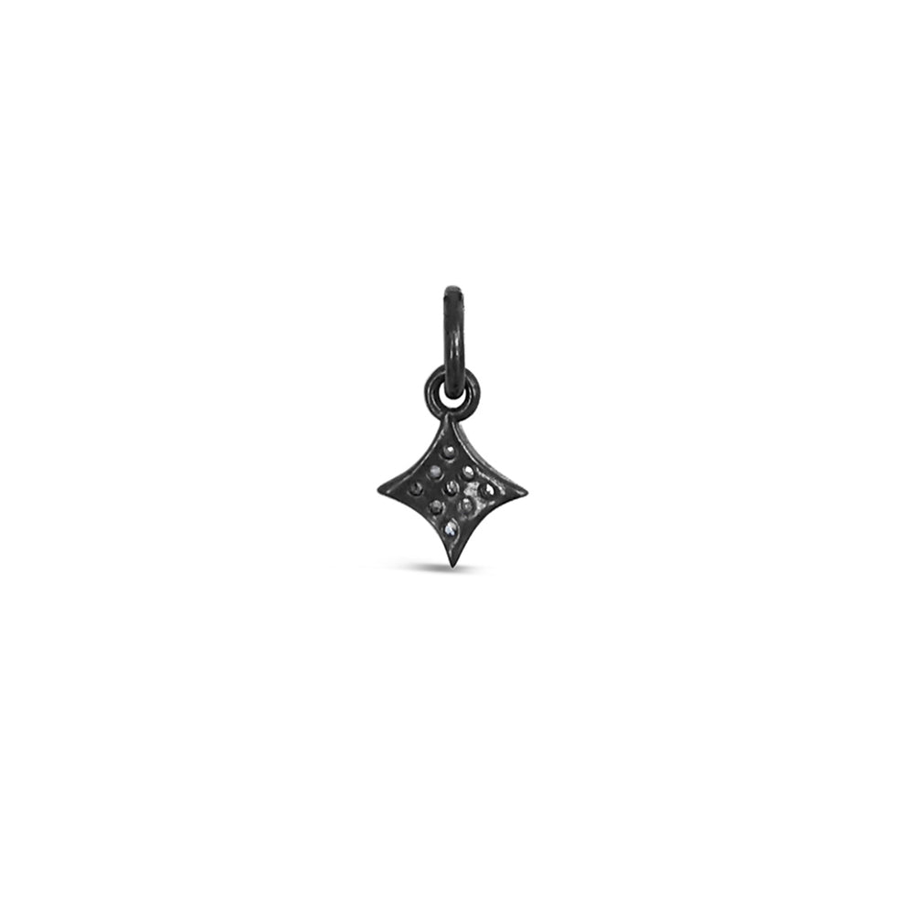 PICS1741-BLACK RHODIUM ROSE CUT PAVE DIAMOND FOUR POINT PENDANT