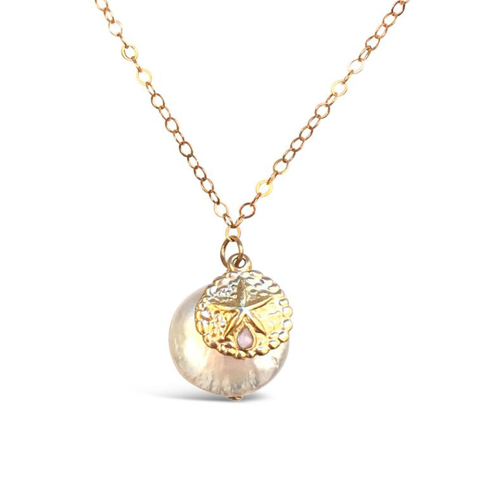 WR12-14KT GOLD FILL LARGE COIN FRESHWATER PEARL AND SAND DOLLAR NECKLACE ON A 18 INCH CHAIN