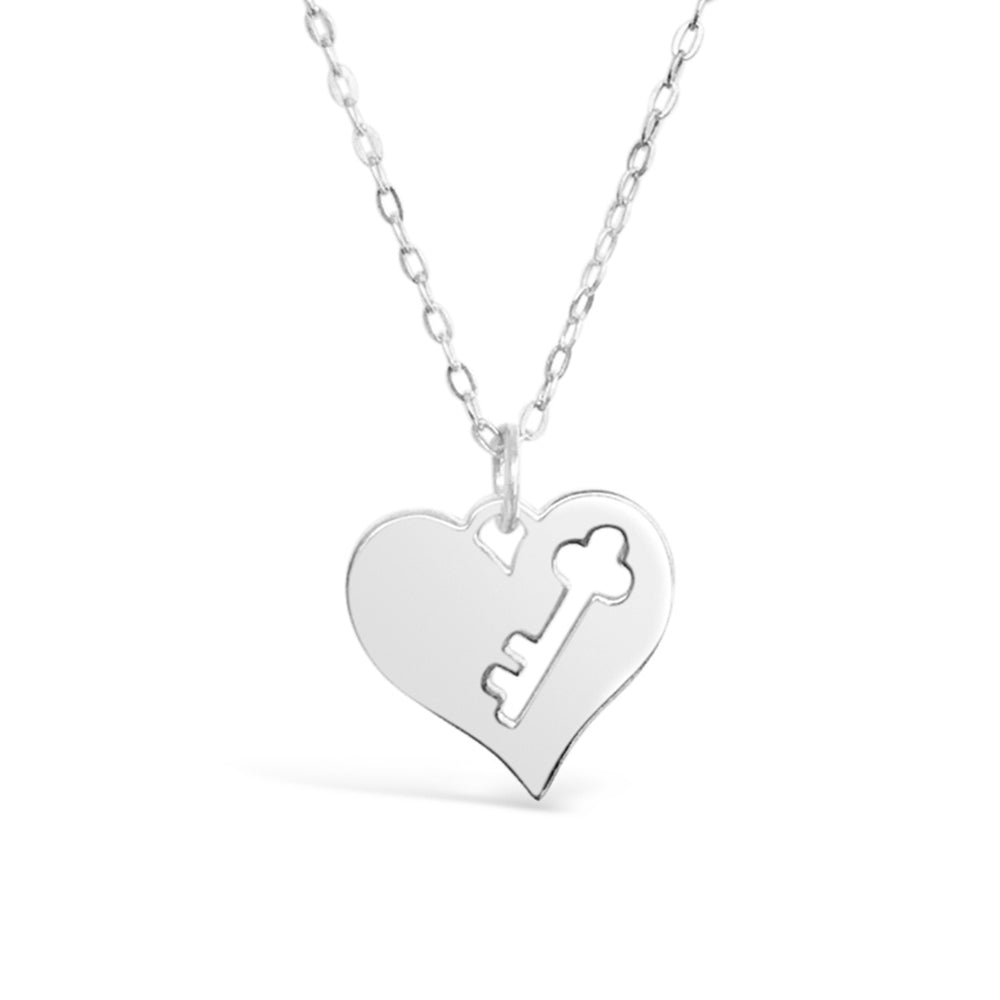 GR80- 2 NECKLACE SET STERLING SILVER KEY TO MY HEART NECKLACE ON A 16 INCH CHAIN