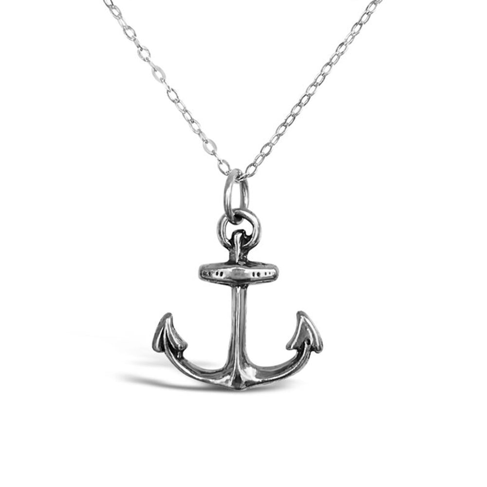 GR53-STERLING SILVER LARGE ANCHOR 18IN CHAIN NECKLACE