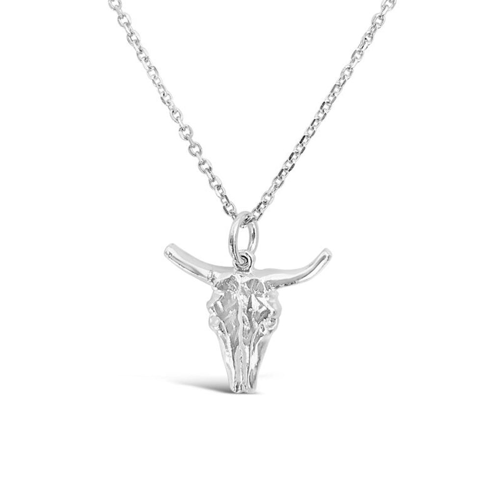 GR92-STERLING SILVER 14KT GOLD PLATED LARGE BULL NECKLACE ON 18 INCH CHAIN