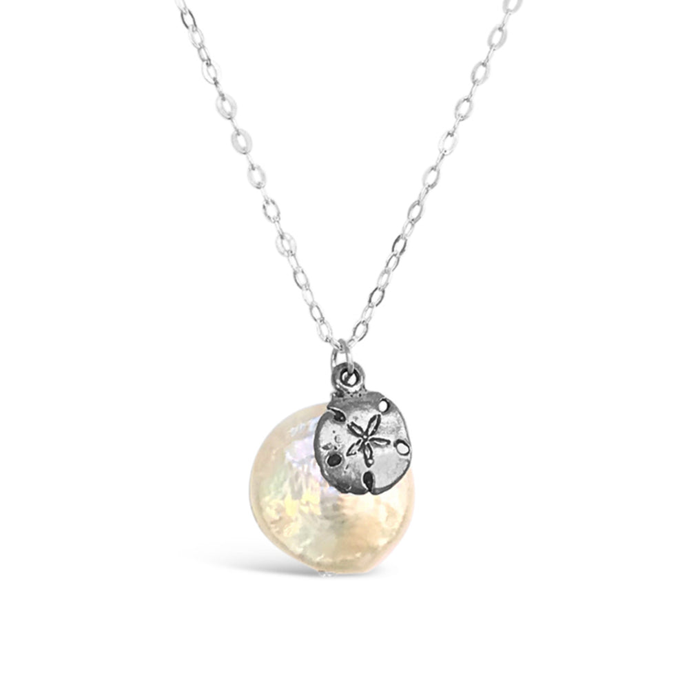 GR08-STERLING SILVER LARGE COIN FRESHWATER PEARL WITH SAND DOLLAR CHARM ON AN 18IN CHAIN NECKLACE