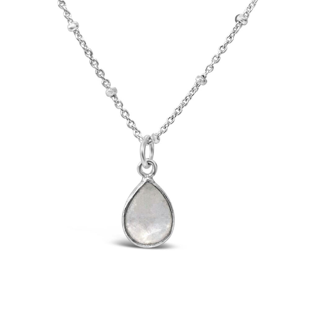 GR79-STERLING SILVER PEAR SHAPED MOONSTONE 16 IN CHAIN NECKLACE