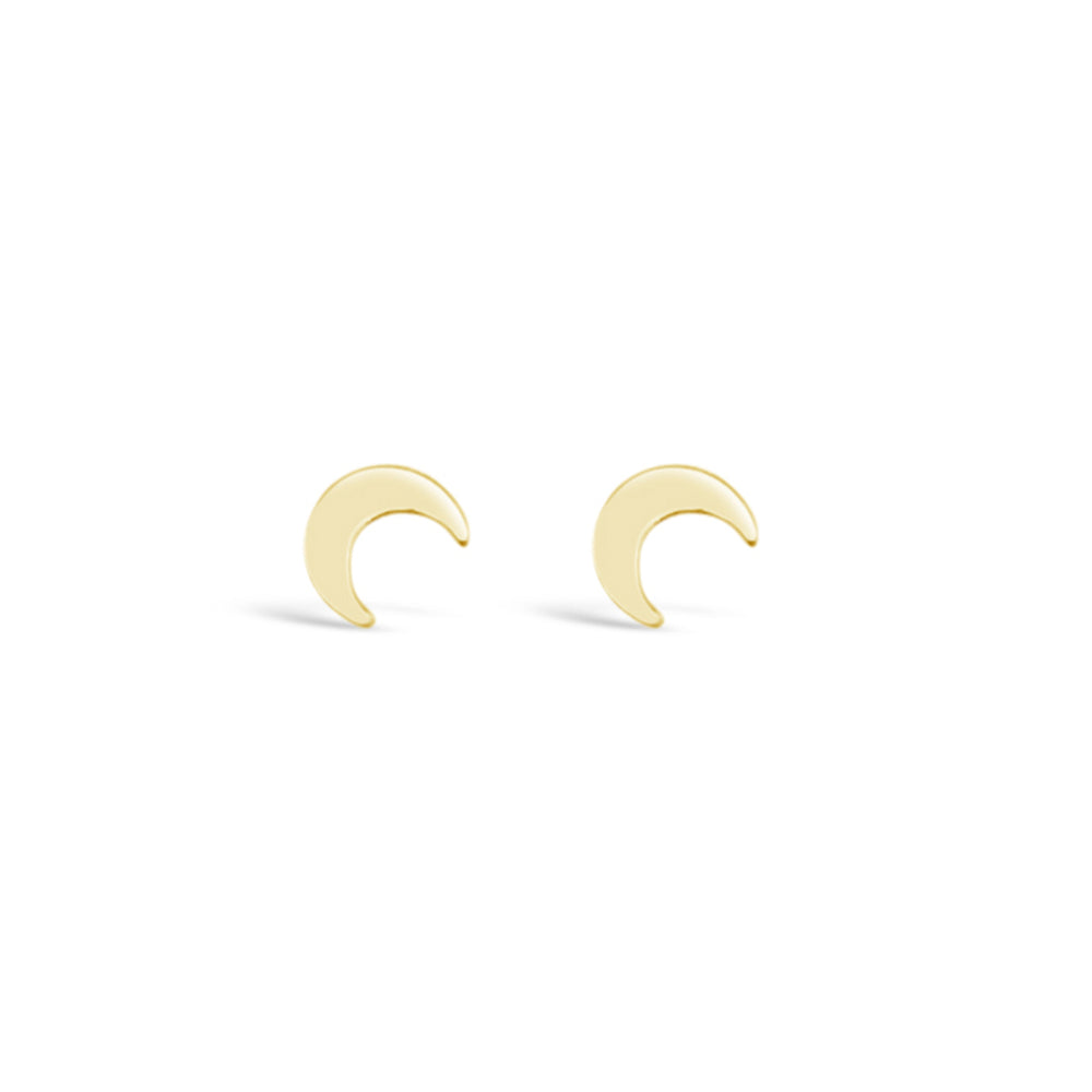 GR87-14KT GOLD FILL MOON STUD EARRINGS