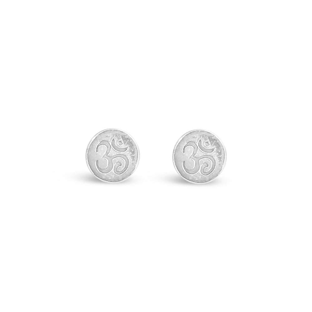GR83-STERLING SILVER OM STUD EARRINGS
