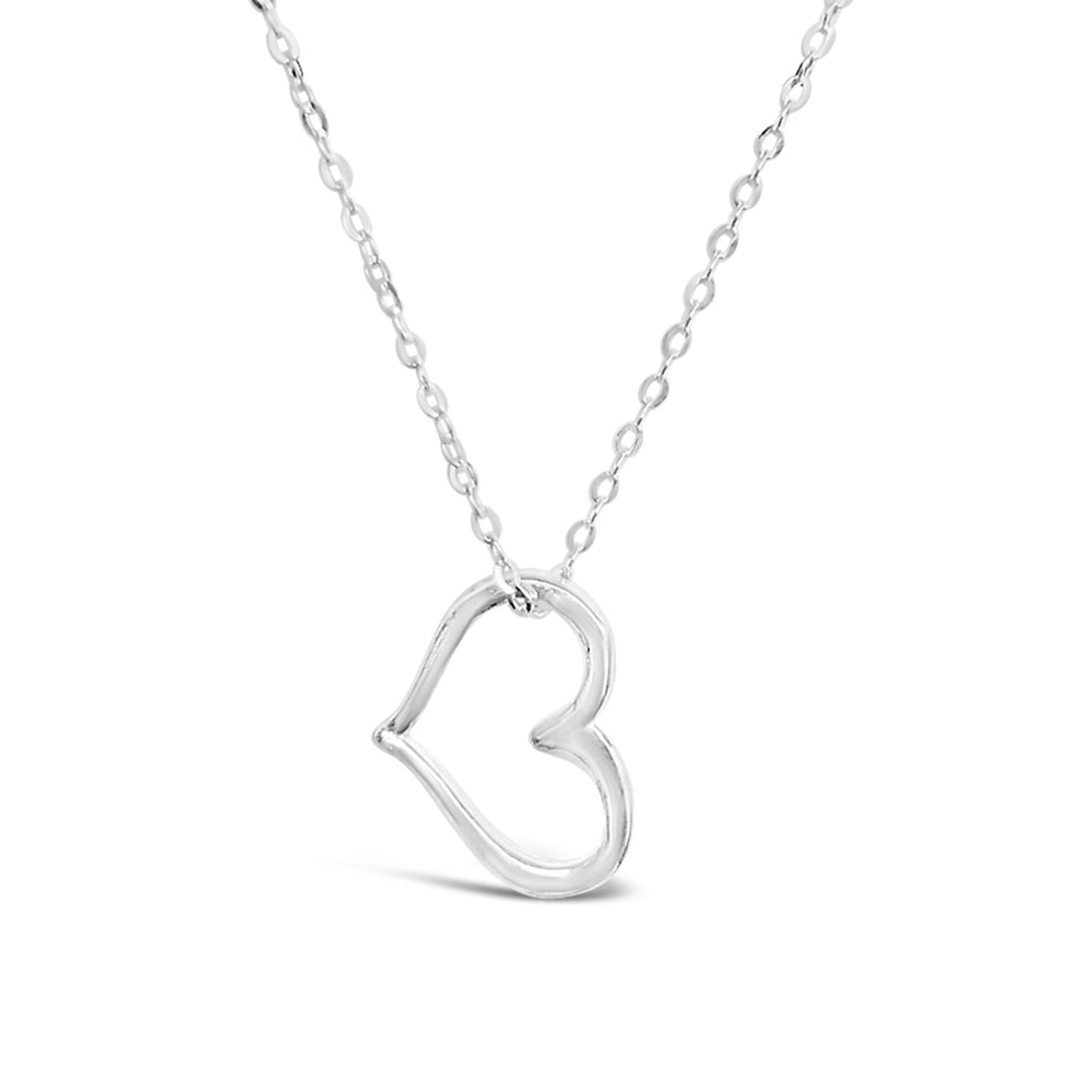 STERLING SILVER OPEN HEART 18IN CHAIN NECKLACE