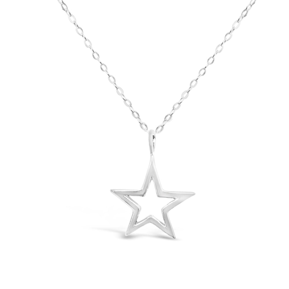 GR06-STERLING SILVER OPEN STAR CHARM 16IN CHAIN NECKLACE