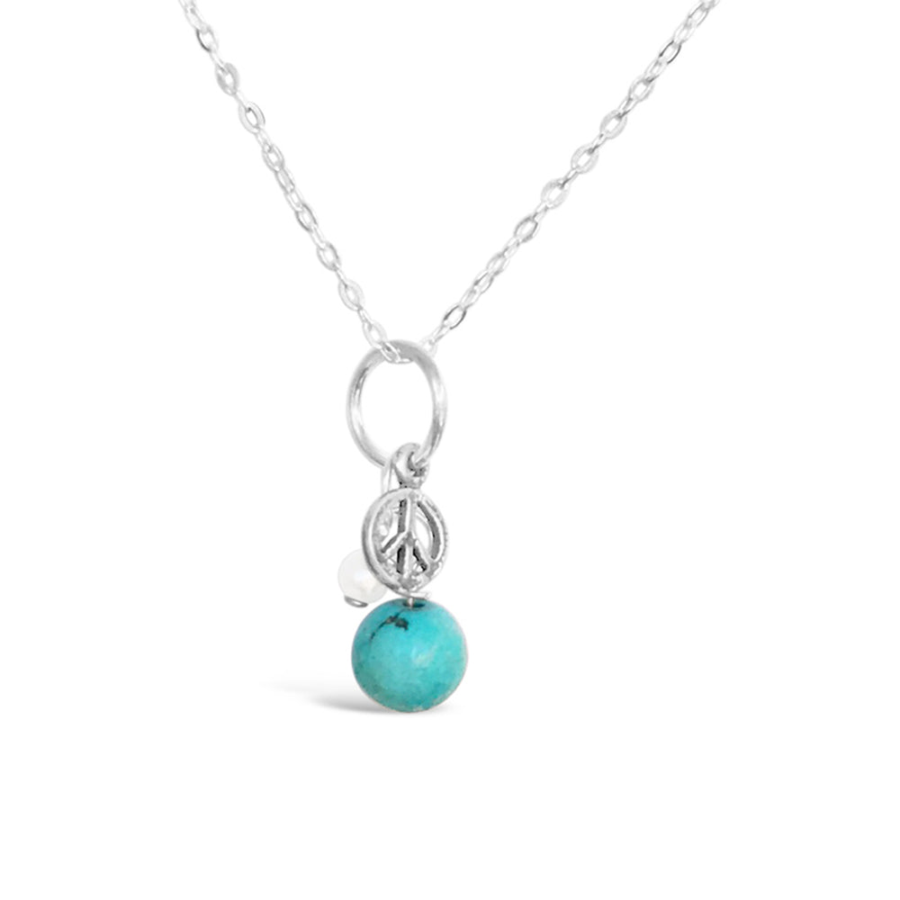 GR12-STERLING SILVER TURQUOISE FRESHWATER PEARL WITH 16IN CHAIN NECKLACE