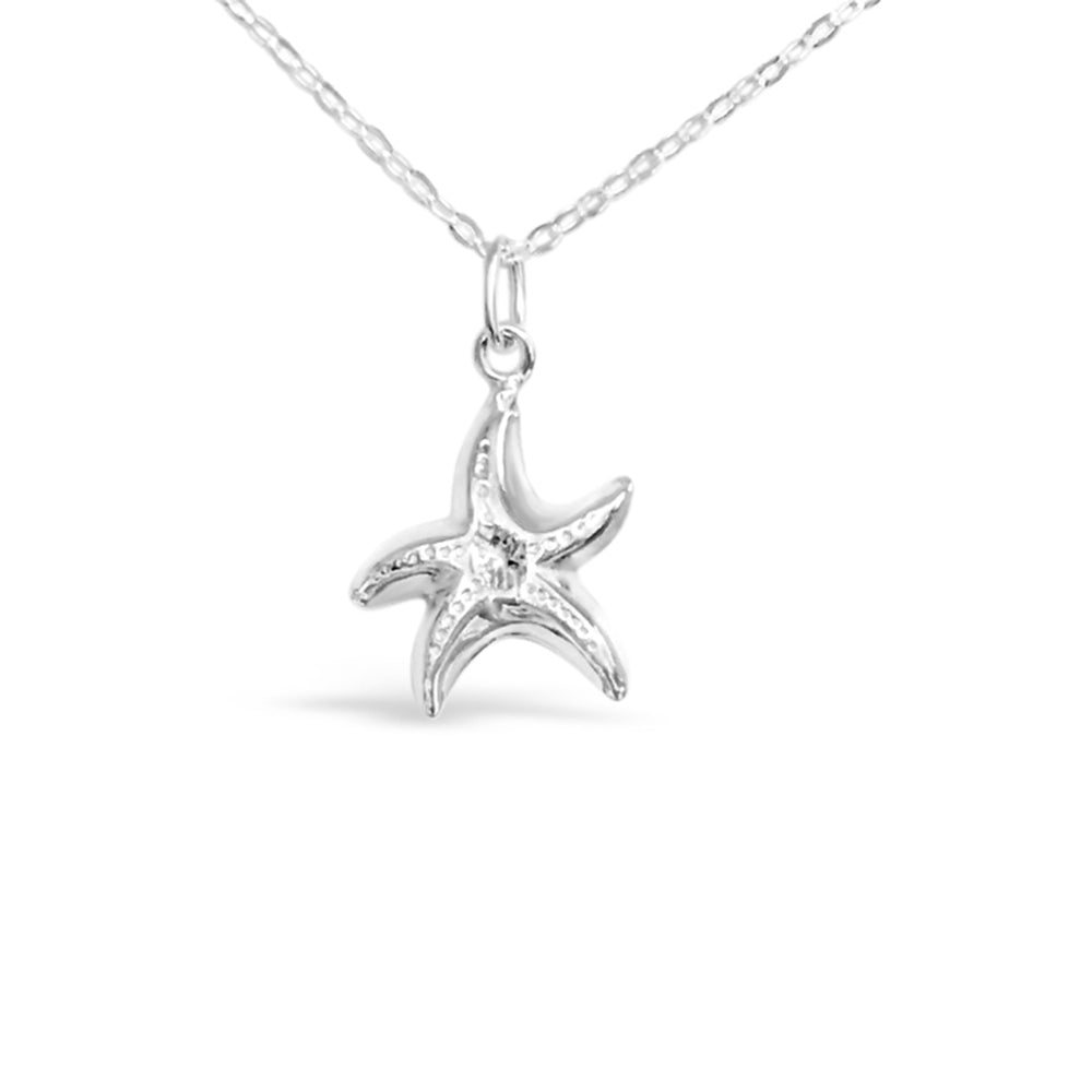 GR15-STERLING SILVER PUFFY STARFISH 18IN CHAIN NECKLACE