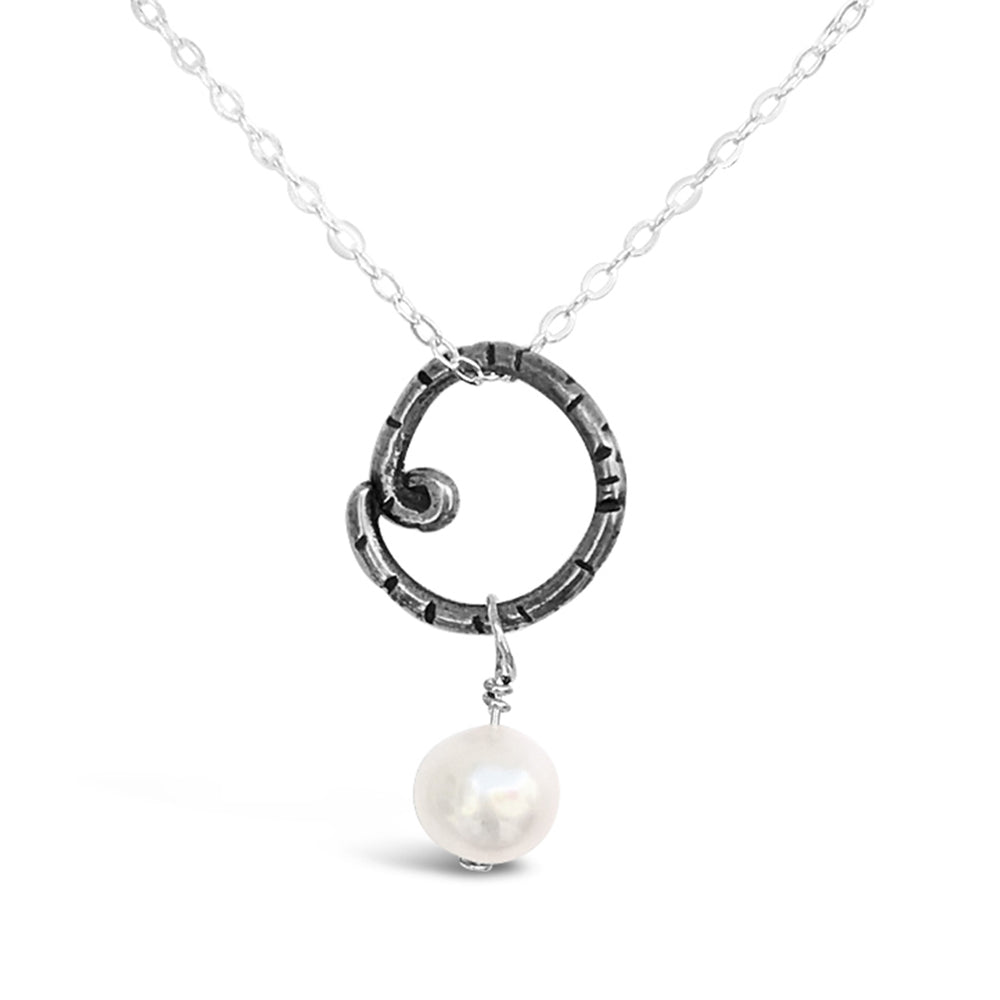 GR31-STERLING SILVER RING FRESHWATER PEARL 16IN CHAIN NECKLACE