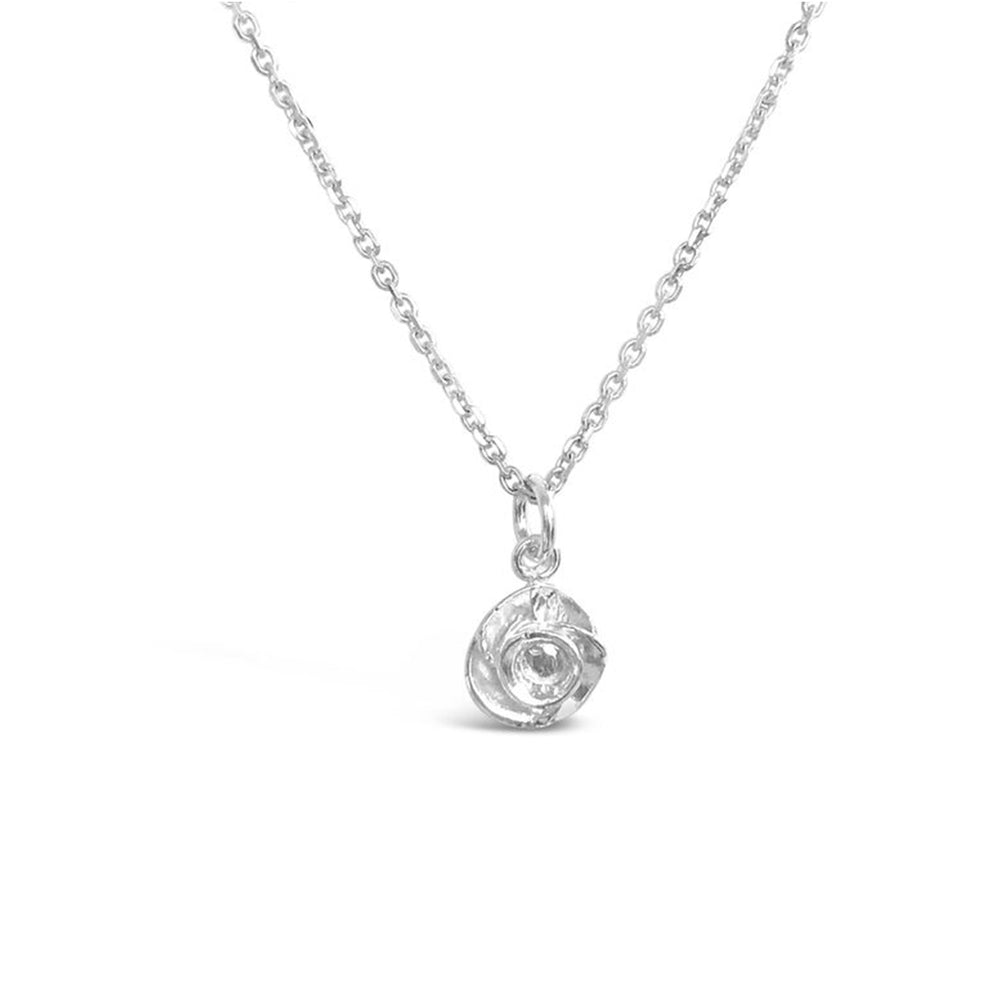 WD82-STERLING SILVER PLATED WITH 14KT GOLD ROSE NECKLACE ON 16 INCH CHAIN