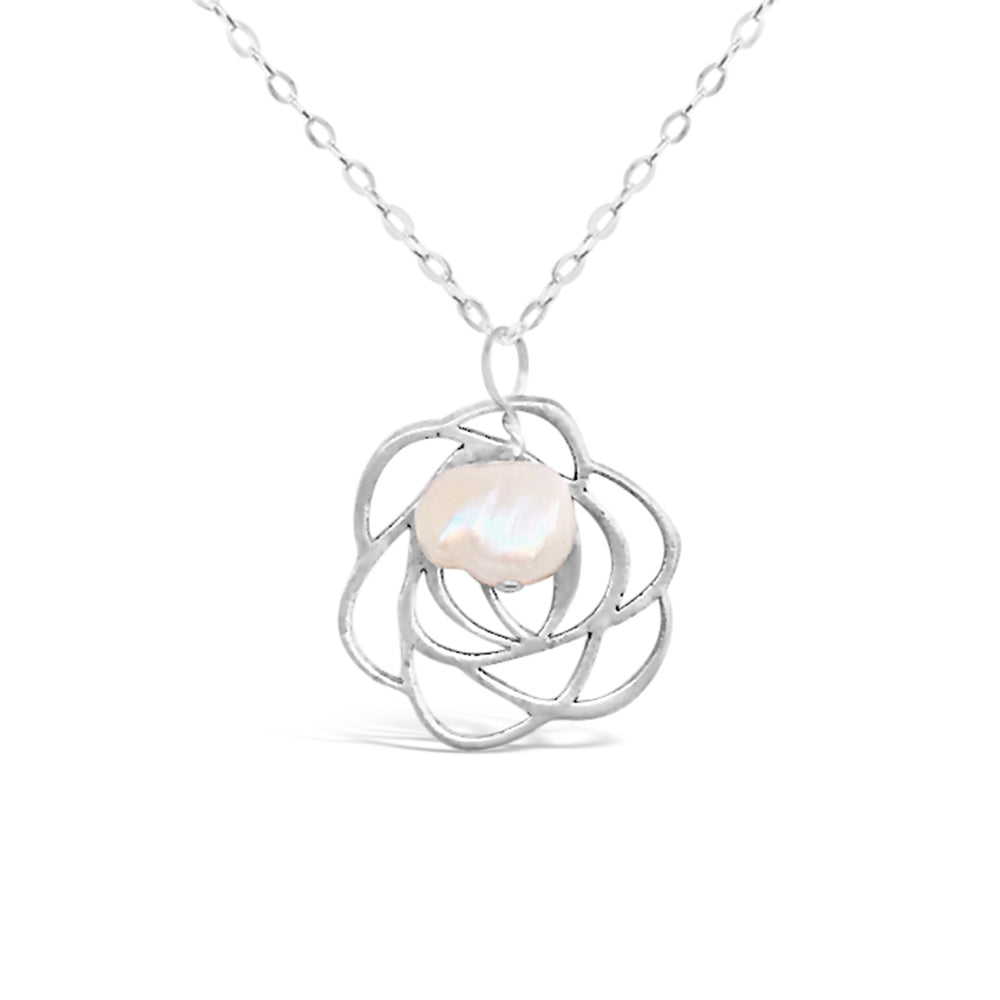 STERLING SILVER ROSE FRESHWATER PEARL 18IN CHAIN NECKLACE