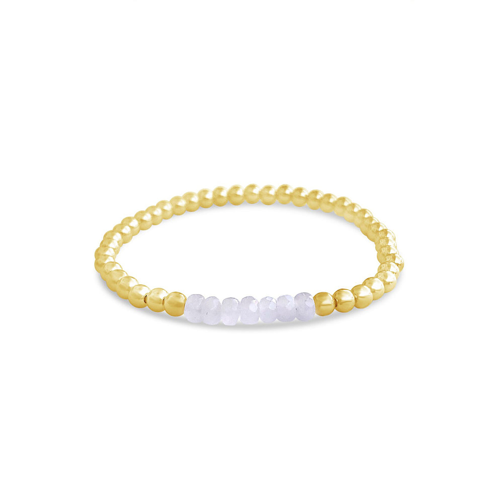 4MM GOLD FILL BEADED BRACELET WITH FACETED ROSE QUARTZ