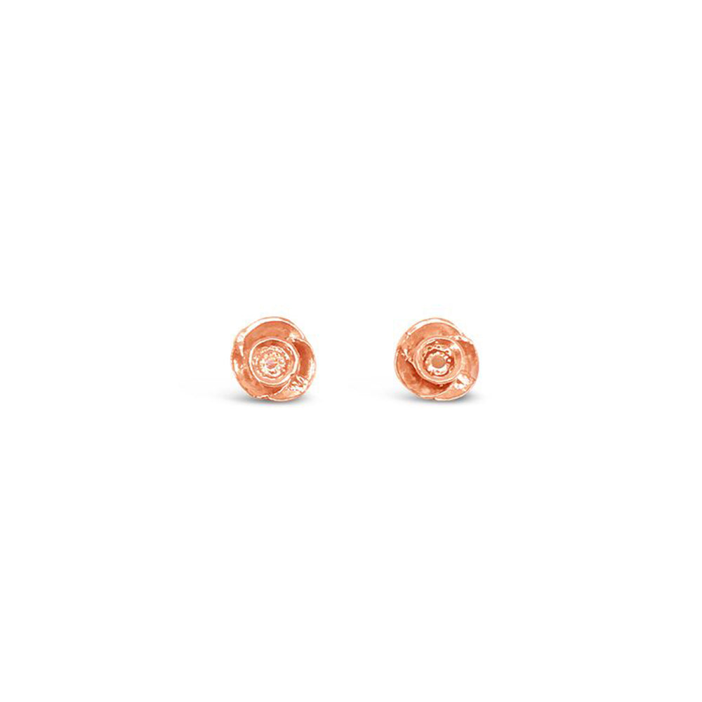 GR98-STERLING SILVER 14KT GOLD PLATED ROSE STUDS
