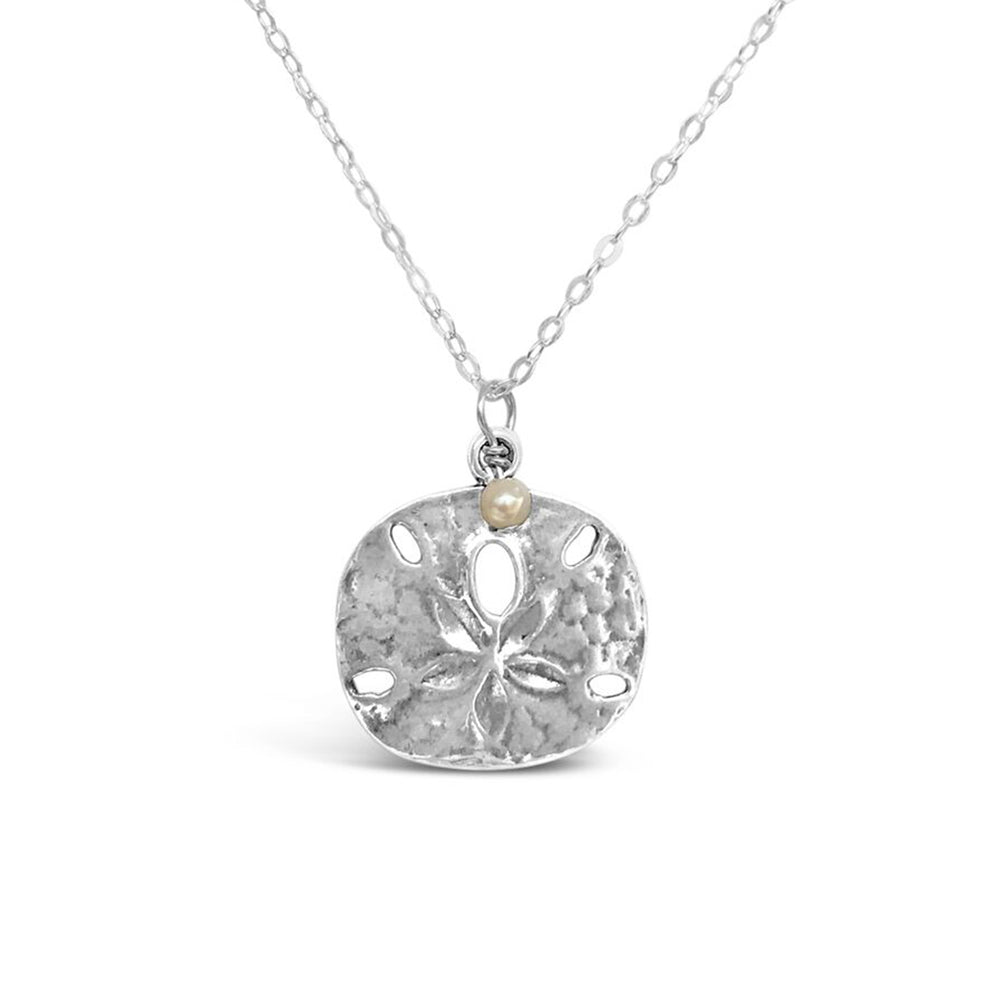 GR54-STERLING SILVER LARGE SAND DOLLAR 16IN CHAIN NECKLACE