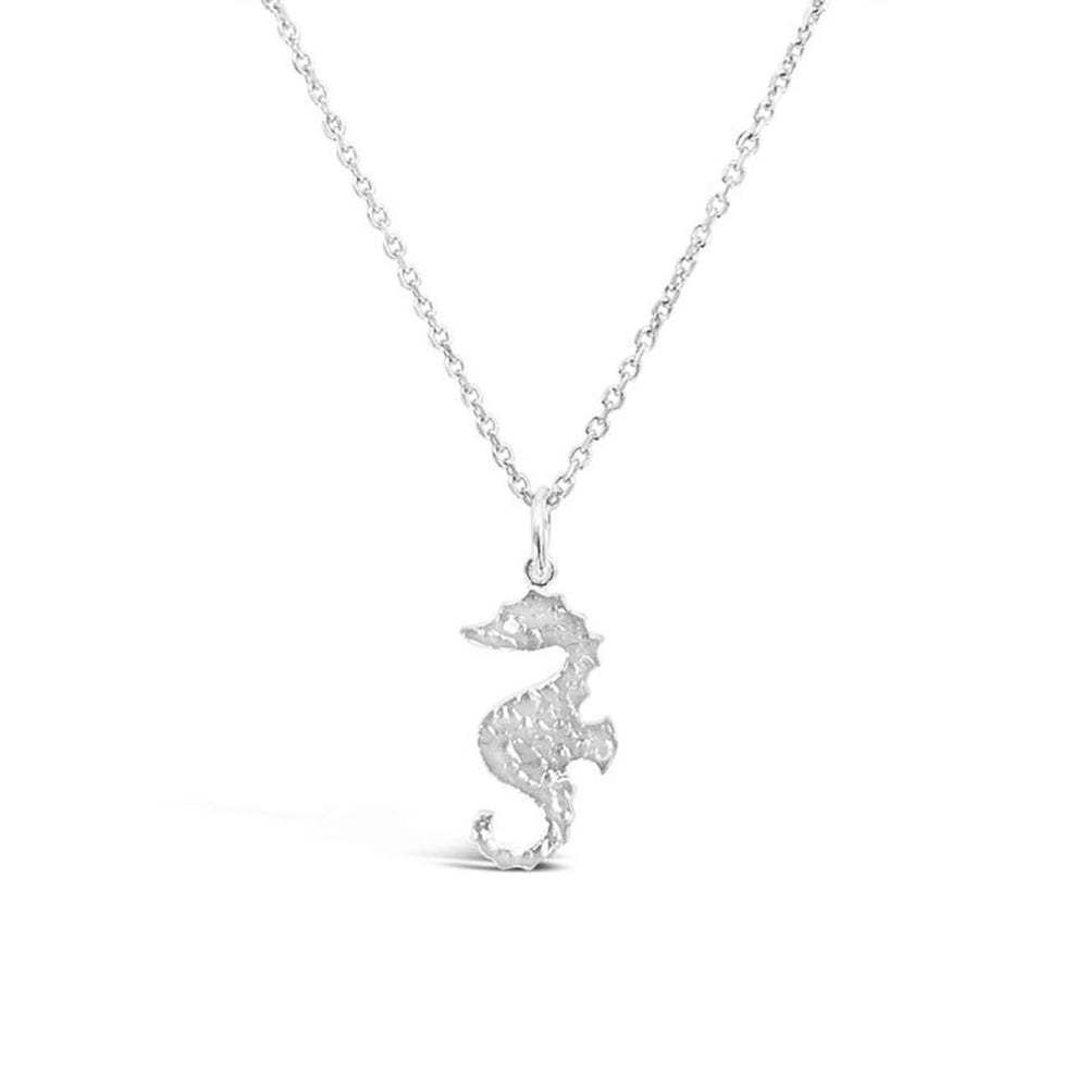 GR94-STERLING SILVER 14KT GOLD PLATED SEAHORSE NECKLACE ON 18 INCH CHAIN