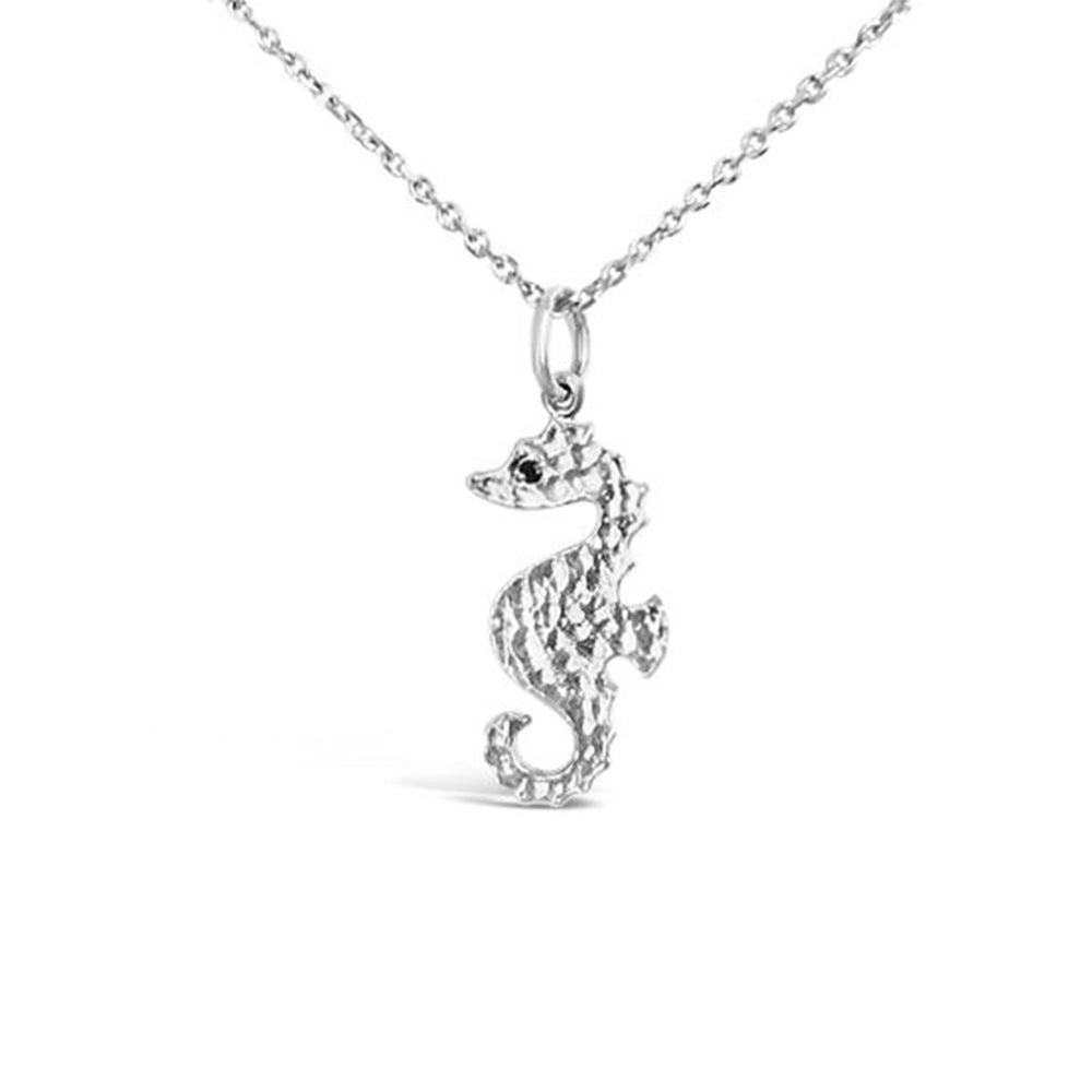 WD95S-STERLING SILVER LARGE SEAHORSE NECKLACE WITH BLACK DIAMOND EYES