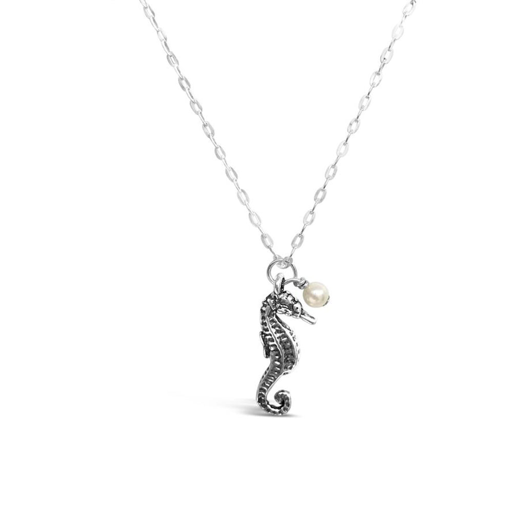 GR24-STERLING SILVER SMALL SEAHORSE FRESHWATER PEARL 16IN CHAIN NECKLACE