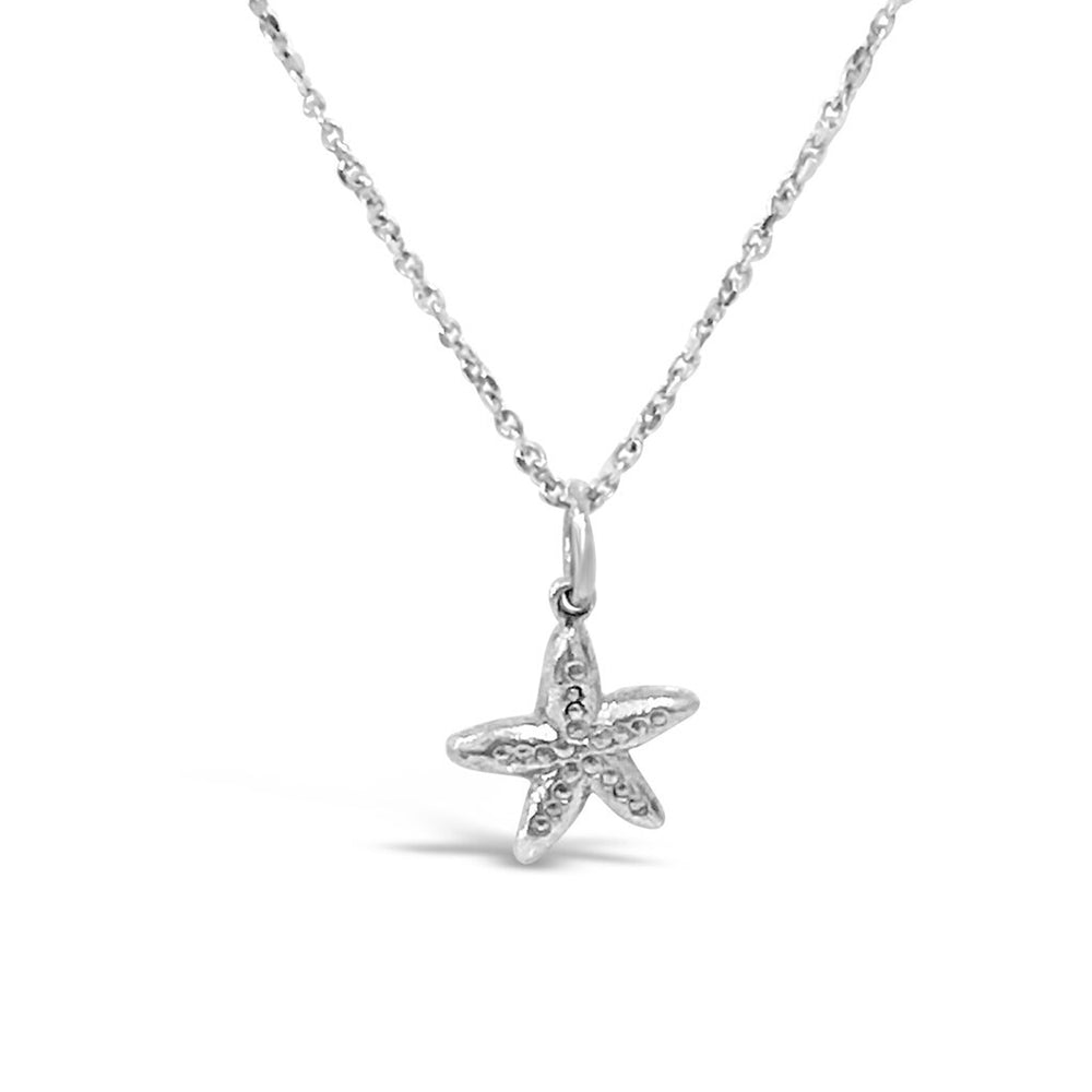 WD93S-STERLING SILVER 14KT GOLD PLATED SMALL STARFISH NECKLACE 16 ON CHAIN NECKLACE
