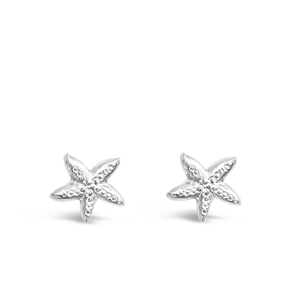 WD94S-STERLING SILVER 14 KT GOLD PLATED SMALL STARFISH STUD EARRINGS