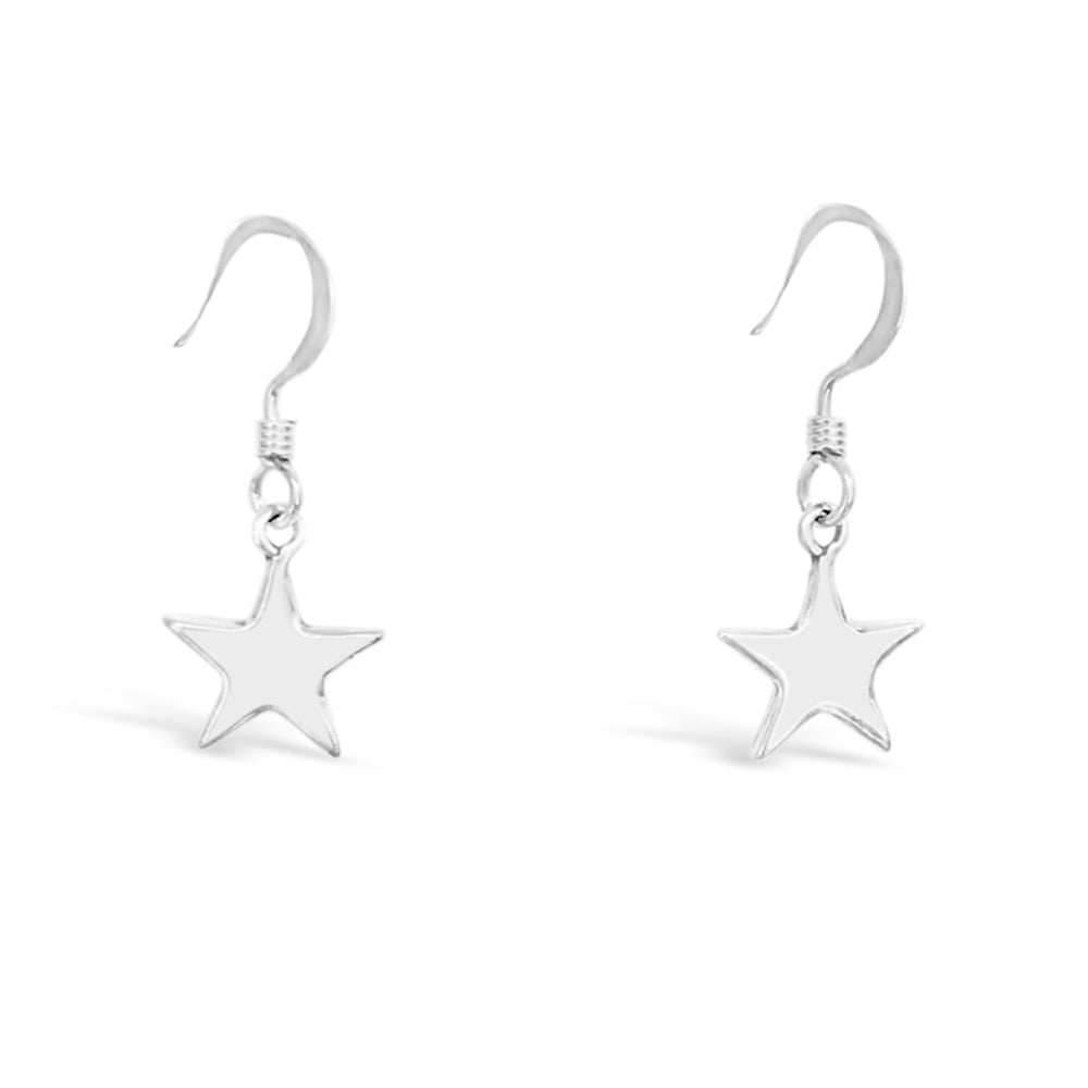 GR04-STERLING SILVER STAR DROP EARRINGS