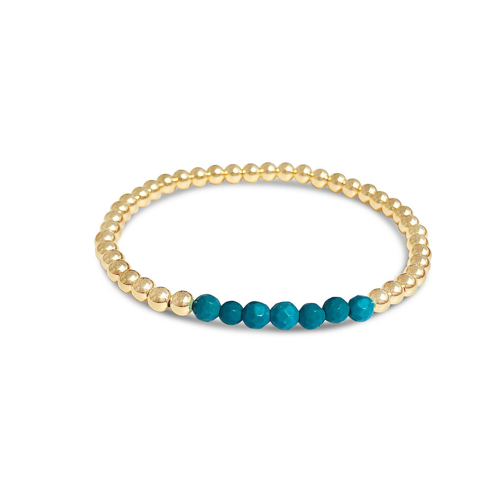 GR108-4MM 14KT GOLD FILL BEADED BRACELET WITH FACETED TURQUOISE