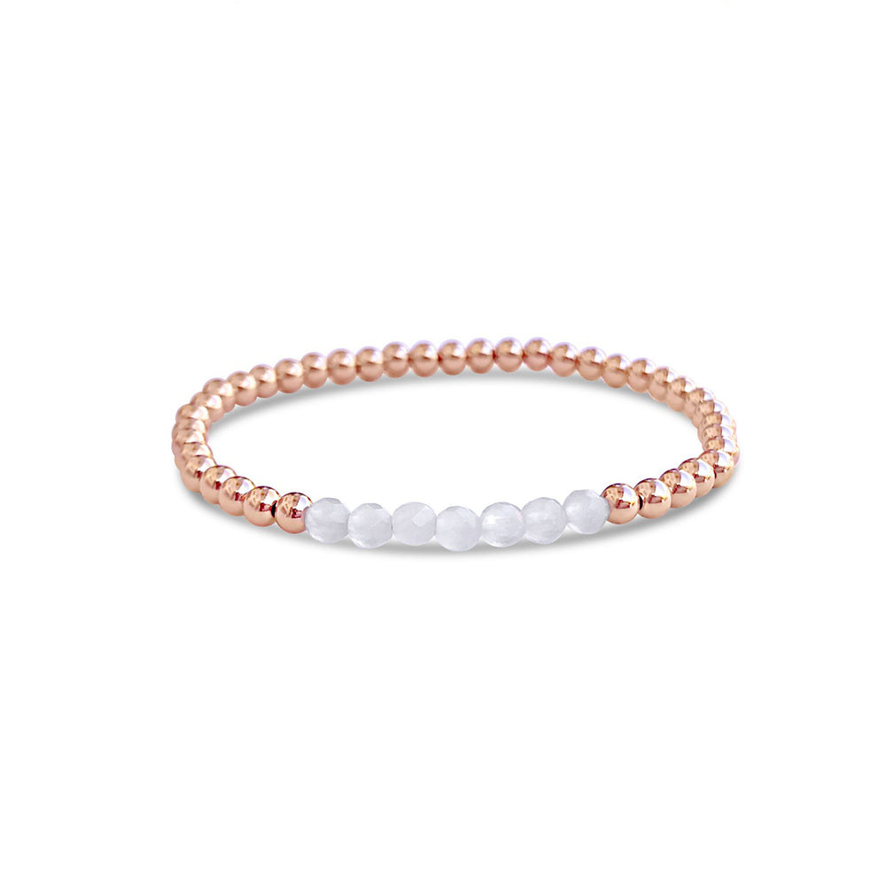 GR107-4MM 14KT GOLD FILL BEADED BRACELET WITH FACETED WHITE OPAL