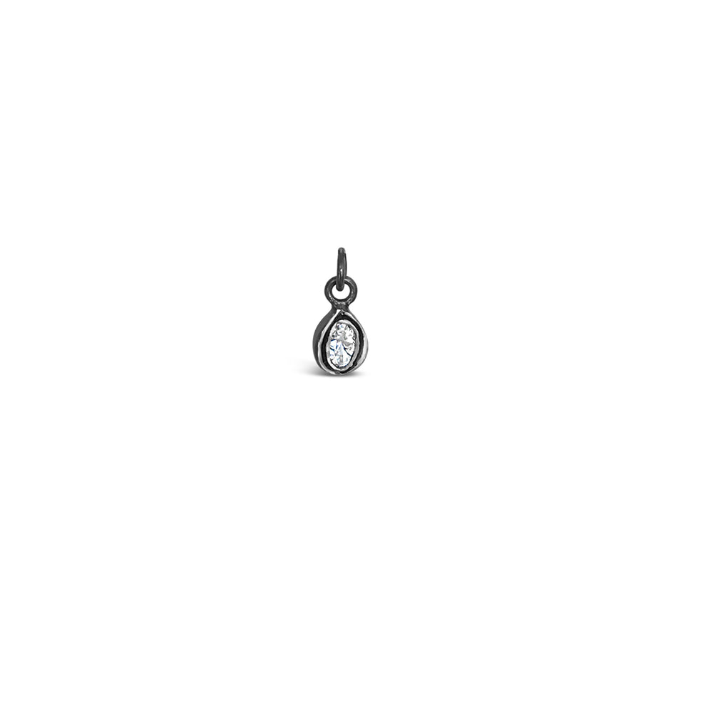 PICS1699-BLACK RHODIUM .20CT ROSE CUT DIAMOND DROP PENDANT