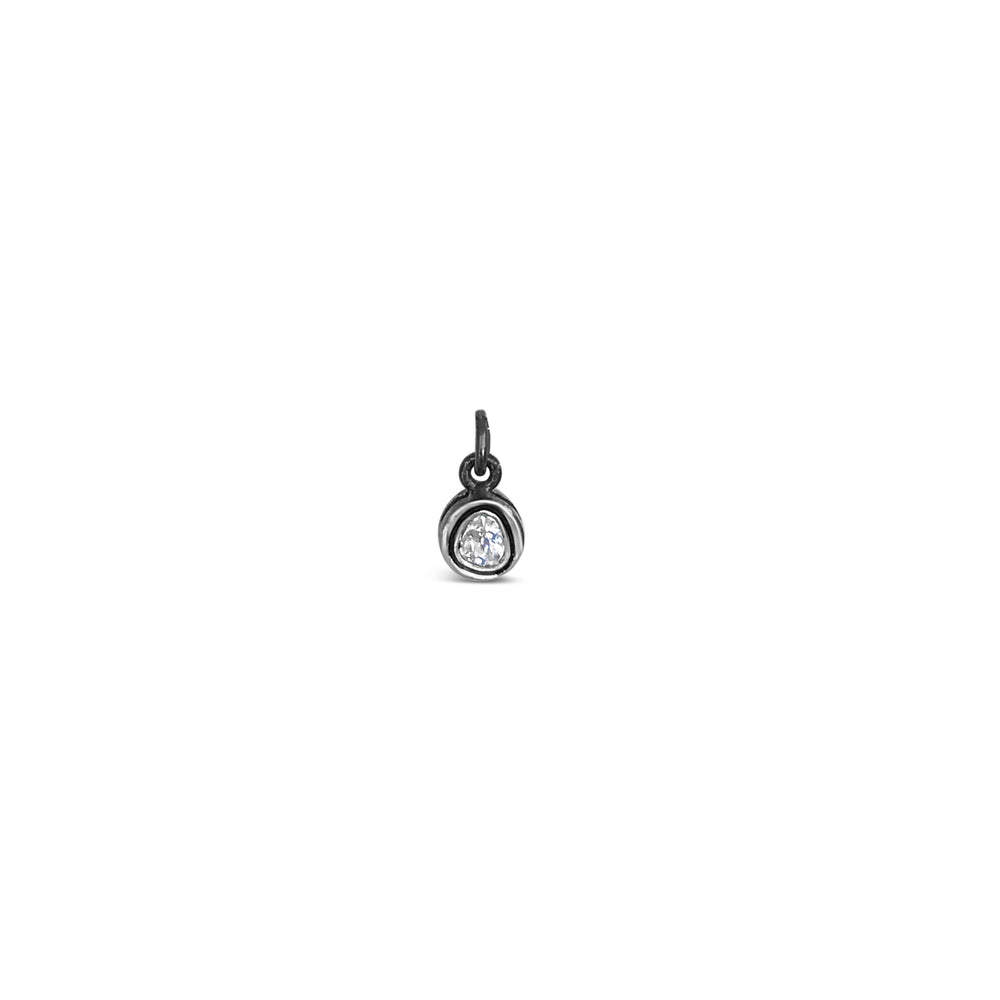 PICS1700-BLACK RHODIUM .20CT ROSE CUT DIAMOND CIRCLE PENDANT