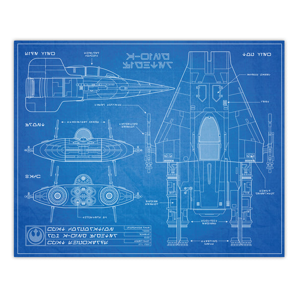 Star Wars - A-Wing Fighter Blueprint Schematic Print - 8x10