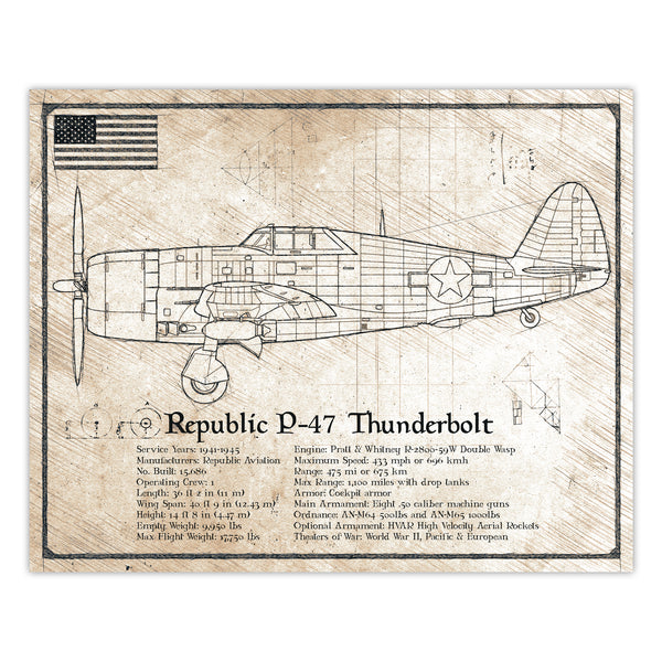 Da Vinci Style Illustration- P47 Thunderbolt Airplane Schematic Print - 8x10